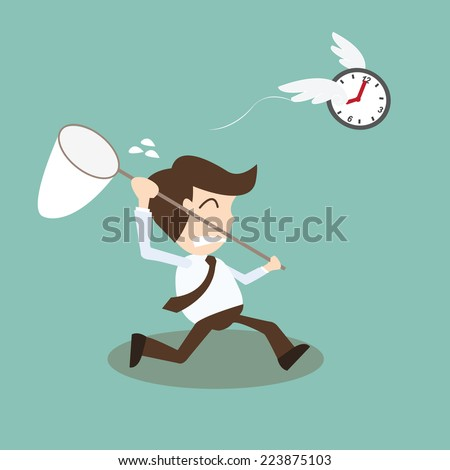 Businessman chasing time - Time and tide wait for no man - stock vector