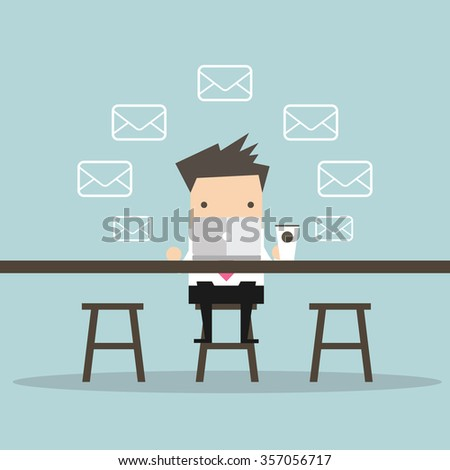 Businessman Check Email Messages at coffee shop - stock vector