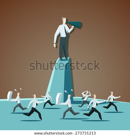 Businessman chief executive officer shouting commands through a megaphone and directs people - stock vector