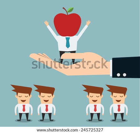 businessman choosing a knowledge people worker vector illustration - stock vector
