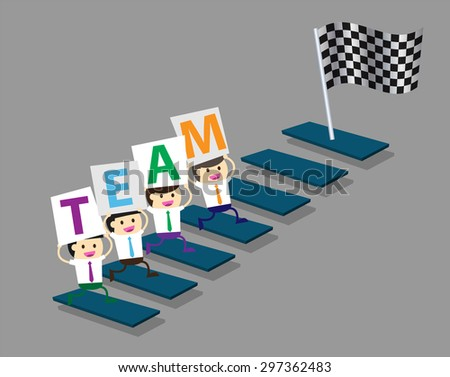 Businessman climbing ladder to Success. Vector illustration. Businessman climbing to goal. Motivation concept to be successful. winner. finish. win. flat design. graph. team, teamwork,flag - stock vector