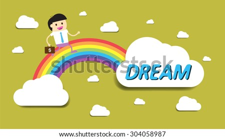 Businessman climbing ladder to Success. Vector illustration. Businessman climbing to goal.Motivation concept to be successful.winner.finish.win. flat design. text box. bubble. rainbow stairs - stock vector