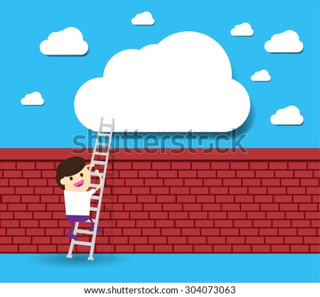 Businessman climbing ladder to Success. Vector illustration. Businessman climbing to goal.Motivation concept to be successful.winner.finish.win. flat design.brick Wall - stock vector