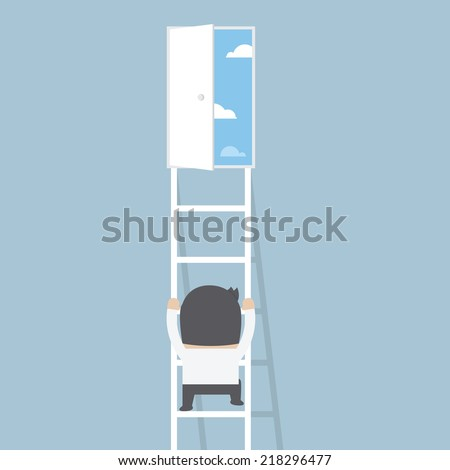 Businessman climbing ladder to the door of freedom, VECTOR, EPS10 - stock vector
