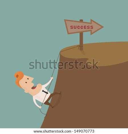 Businessman climbing on the rocks ,Vector EPS 10 - stock vector
