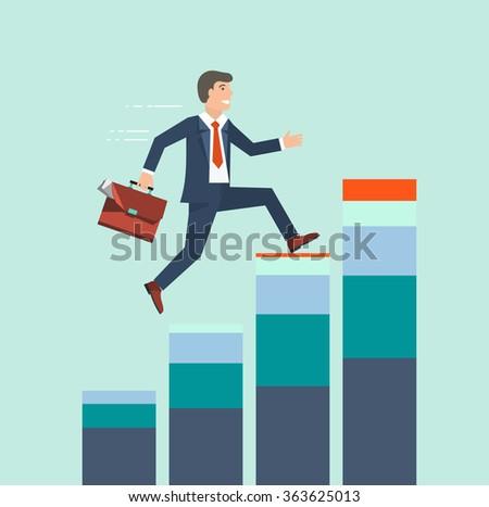 Businessman climbing rising stock to success vector concept. Business growth concept - stock vector
