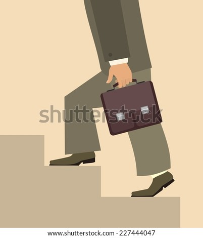 businessman climbing stairs with a briefcase in hand business concept - stock vector