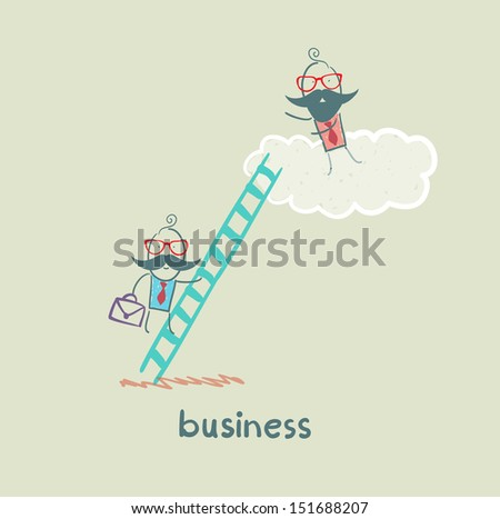 businessman climbing the stairs to the cloud to the boss - stock vector