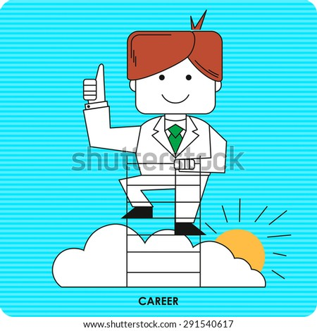 Businessman climbs up the career ladder. Vector illustration. Vector icon. - stock vector