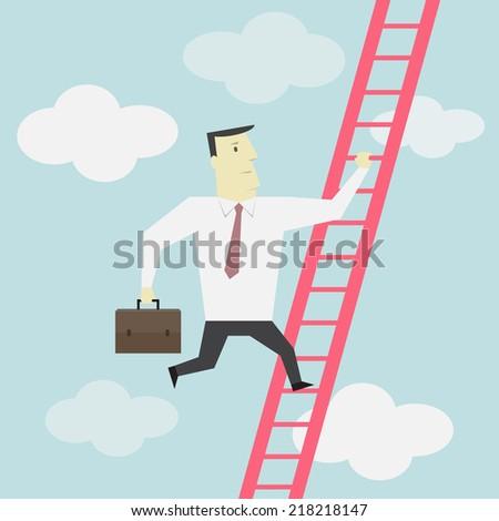 Businessman climbs up the Ladder - Vector  - stock vector