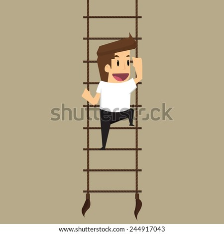 businessman climbs upstairs for professional growth.vector - stock vector