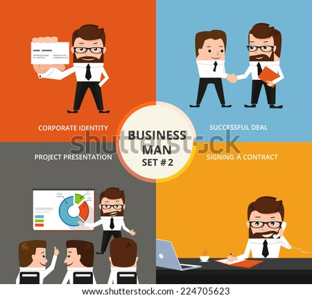 Businessman concept collection. Corporate identity, partnership, project presentation, signing a contract - stock vector