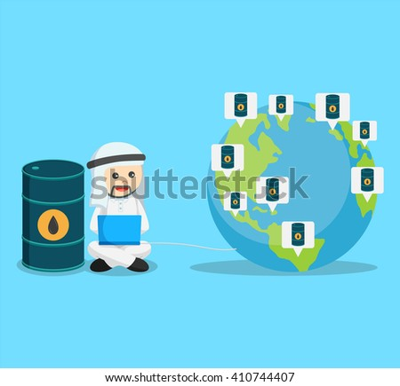 businessman connected his laptop to the globe for selling his oil - stock vector
