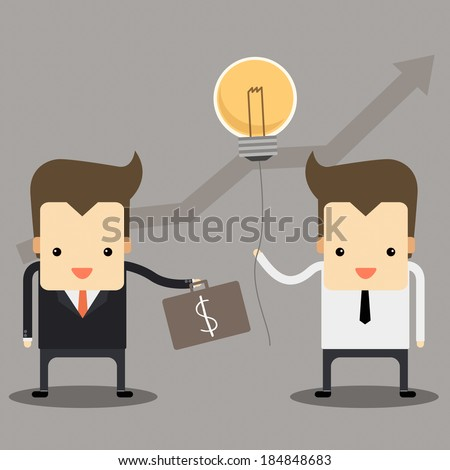 businessman contract and give an idea vector - stock vector