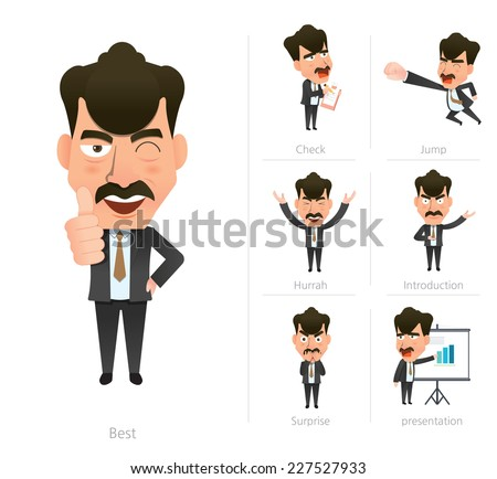 Businessman corporate life flat design 7set-boss - stock vector