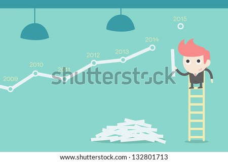 Businessman creating stock chart - stock vector