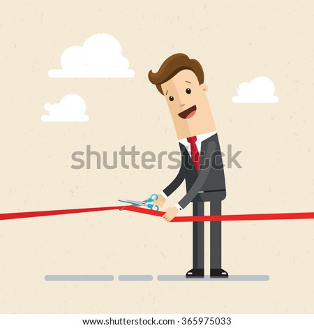 Businessman cutting a red ribbon with scissors. Illustration, VECTOR, EPS10 - stock vector