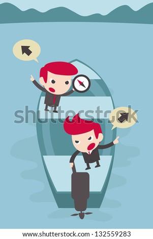 businessman debate on boat. - stock vector