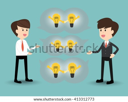 businessman discussion,share,give,exchange, recommend idea, concept on the same page - stock vector