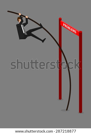 Businessman doing pole vaulting over horizontal barrier hurdle with text Problems. Creative vector illustration for overcoming problems and obstacles in business concept isolated on grey background.