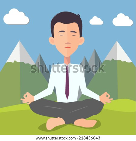 businessman doing yoga -  flat design vector  - stock vector