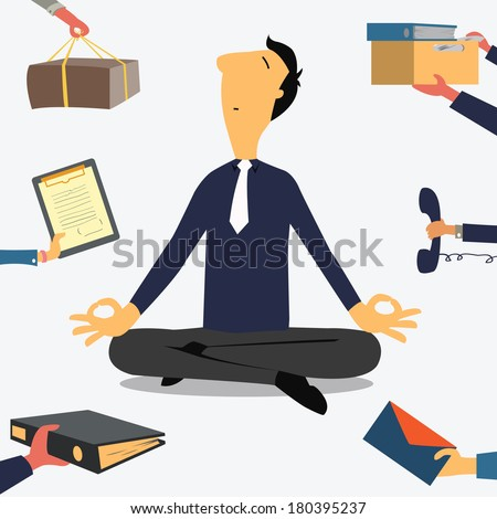 Businessman doing Yoga to calm down the stressful emotion from multitasking and very busy working.  - stock vector