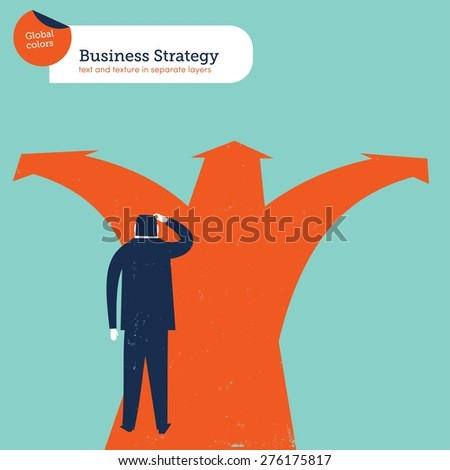 Businessman doubting in a crossroad which path is best. Vector illustration Eps10 file. Global colors. Text and Texture in separate layers. - stock vector