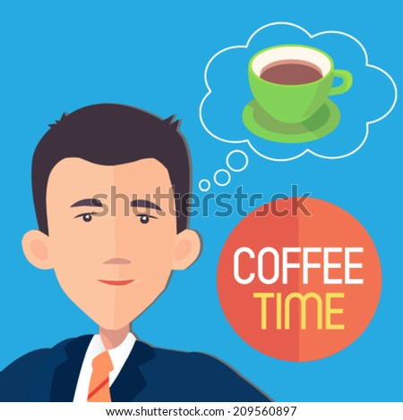businessman dreaming about a cup of coffee - flat design vector  - stock vector