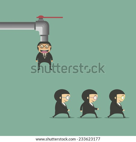 Businessman dripping tap  - stock vector