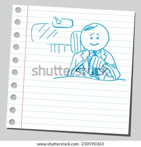 Businessman driving - stock vector