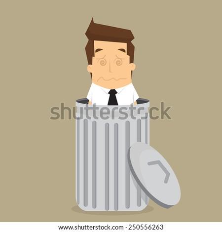 businessman dropped into trash. vector - stock vector