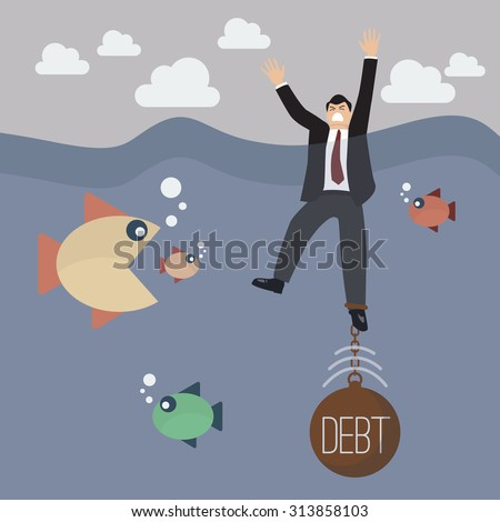 Businessman drowning in weight of debt. Business concept - stock vector