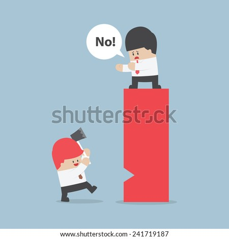 Businessman eliminate rival by destroy their business, VECTOR, EPS10 - stock vector