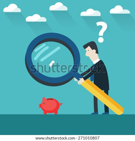 Businessman examining  Piggy bank with  magnifying glass.  Businessman investing money concept - stock vector