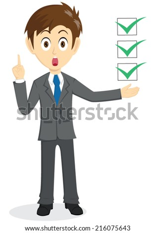 Businessman Explain With Floating Check list - stock vector