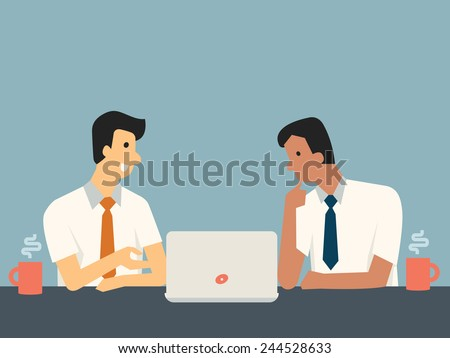 Businessman explaining something in front of computer laptop for his colleague at workplace.  - stock vector