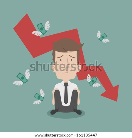 Businessman fail and money flying , eps10 vector format - stock vector