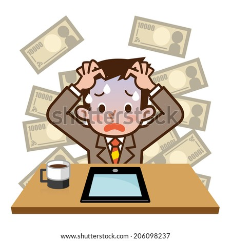 Businessman failed to investment - stock vector