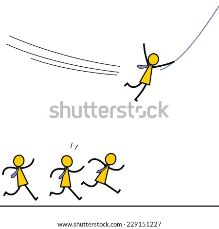 Businessman find himself a better opportunity or gain competitive advantage to go forward by swinging with a rope, while the others just running on the ground. Simple character design.   - stock vector