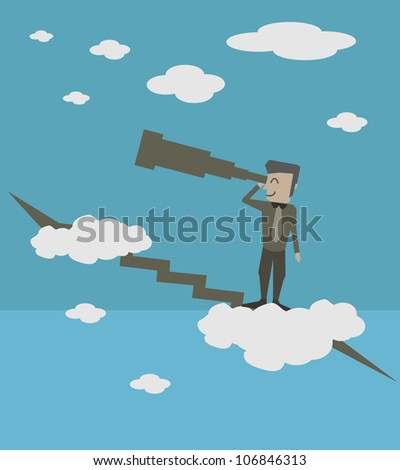 Businessman Find Opportunity - stock vector