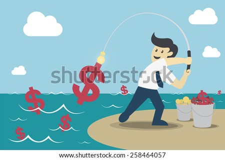 Businessman fishing dollar money, Make Money from idea, vector illustration - stock vector