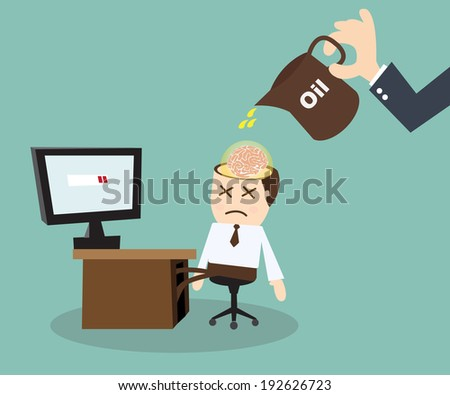 Businessman Fixing and maintain  in His Brain - stock vector