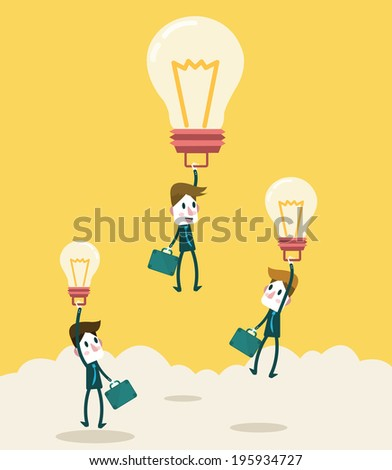 Businessman fly higher with big ideas light bulb. Business leadership and competition Concept. vector - stock vector