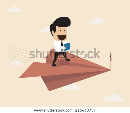 Businessman fly with remote control paper plane - stock vector