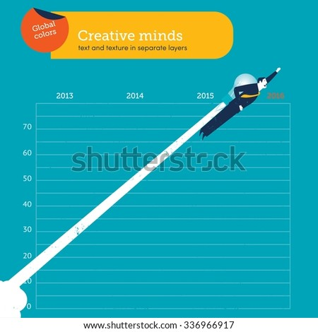 Businessman flying with a bulb over year 2016.  Vector illustration Eps10 file. Global colors. Text and Texture in separate layers.  - stock vector