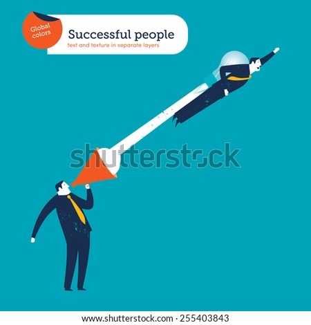 Businessman flying with a rocket coming  out of a coach's megaphone. Vector illustration Eps10 file. Global colors. Text and Texture in separate layers. - stock vector