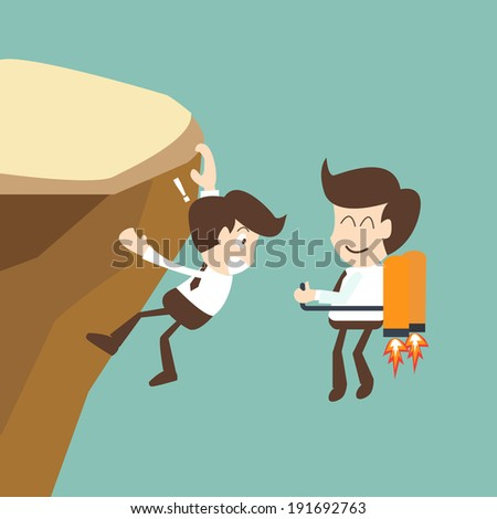 Businessman flying with rocket and climbs a mountain - competition in business concept - stock vector