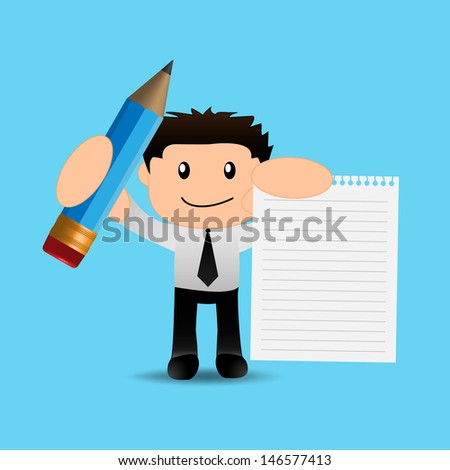 Businessman funny cartoon with pencil and paper - stock vector