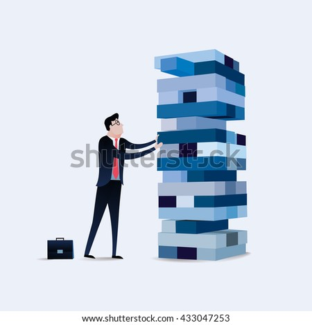 Businessman gambling placing block stack on a tower. Business concept illustration vector - stock vector