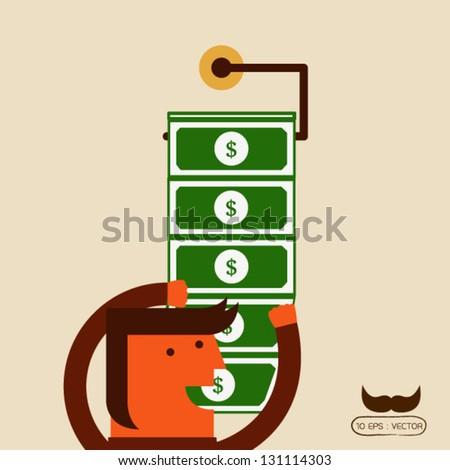 Businessman get money - stock vector